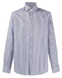 weißes und dunkelblaues vertikal gestreiftes Langarmhemd von BOSS HUGO BOSS
