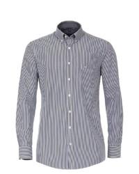 weißes und dunkelblaues vertikal gestreiftes Langarmhemd von Casamoda