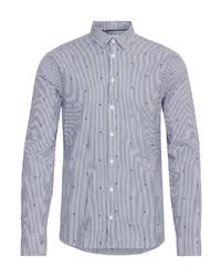 weißes und dunkelblaues vertikal gestreiftes Langarmhemd von CASUAL FRIDAY