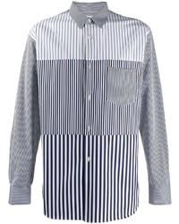 weißes und dunkelblaues vertikal gestreiftes Langarmhemd von Comme Des Garcons SHIRT
