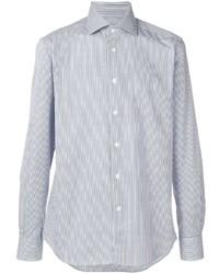weißes und dunkelblaues vertikal gestreiftes Langarmhemd von Corneliani