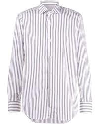 weißes und dunkelblaues vertikal gestreiftes Langarmhemd von Eleventy