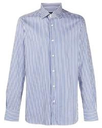 weißes und dunkelblaues vertikal gestreiftes Langarmhemd von Ermenegildo Zegna