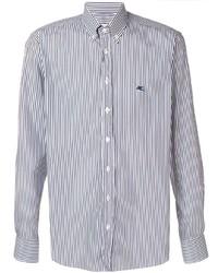 weißes und dunkelblaues vertikal gestreiftes Langarmhemd von Etro