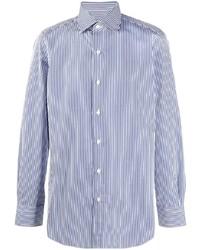 weißes und dunkelblaues vertikal gestreiftes Langarmhemd von Finamore 1925 Napoli