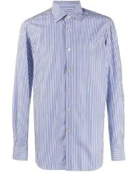 weißes und dunkelblaues vertikal gestreiftes Langarmhemd von Kiton