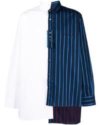 weißes und dunkelblaues vertikal gestreiftes Langarmhemd von Lanvin
