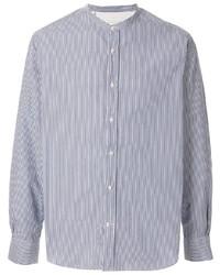 weißes und dunkelblaues vertikal gestreiftes Langarmhemd von Officine Generale