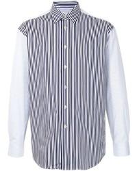 weißes und dunkelblaues vertikal gestreiftes Langarmhemd von Paul Smith