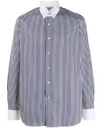 weißes und dunkelblaues vertikal gestreiftes Langarmhemd von Tagliatore