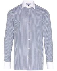 weißes und dunkelblaues vertikal gestreiftes Langarmhemd von Tom Ford