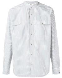 weißes und dunkelblaues vertikal gestreiftes Langarmhemd von Woolrich
