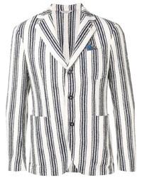 weißes und dunkelblaues vertikal gestreiftes Sakko von Manuel Ritz
