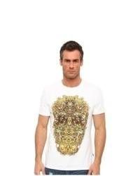 weißes und gelbes bedrucktes T-Shirt mit einem Rundhalsausschnitt
