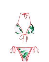 weißes und grünes Bikinioberteil