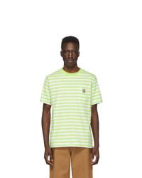weißes und grünes horizontal gestreiftes T-Shirt mit einem Rundhalsausschnitt