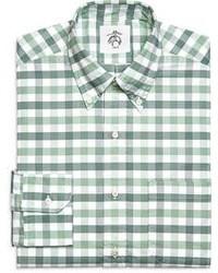 weißes und grünes Langarmhemd mit Vichy-Muster