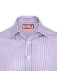weißes und lila vertikal gestreiftes Businesshemd