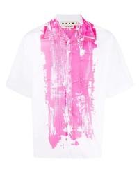 weißes und rosa bedrucktes Kurzarmhemd von Marni
