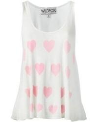 weißes und rosa bedrucktes Trägershirt von Wildfox Couture