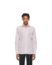 weißes und rosa vertikal gestreiftes Langarmhemd von Ermenegildo Zegna