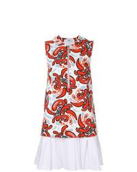 weißes und rotes bedrucktes gerade geschnittenes Kleid von Dondup