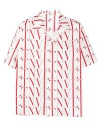 weißes und rotes bedrucktes Kurzarmhemd von Valentino