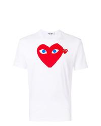 weißes und rotes bedrucktes T-Shirt mit einem Rundhalsausschnitt von Comme Des Garcons Play
