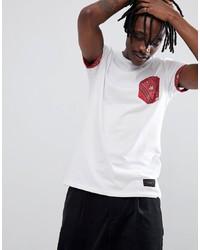 weißes und rotes bedrucktes T-Shirt mit einem Rundhalsausschnitt von Criminal Damage