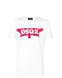 weißes und rotes bedrucktes T-Shirt mit einem Rundhalsausschnitt von DSQUARED2