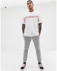 weißes und rotes bedrucktes T-Shirt mit einem Rundhalsausschnitt von Good For Nothing