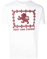 weißes und rotes bedrucktes T-Shirt mit einem Rundhalsausschnitt von Kent & Curwen