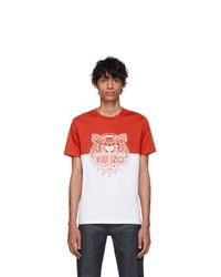 weißes und rotes bedrucktes T-Shirt mit einem Rundhalsausschnitt von Kenzo