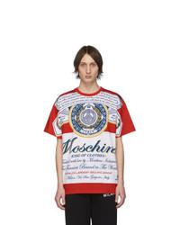 weißes und rotes bedrucktes T-Shirt mit einem Rundhalsausschnitt von Moschino