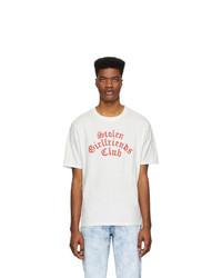 weißes und rotes bedrucktes T-Shirt mit einem Rundhalsausschnitt von Stolen Girlfriends Club