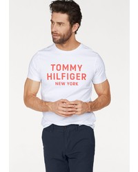 weißes und rotes bedrucktes T-Shirt mit einem Rundhalsausschnitt von Tommy Hilfiger