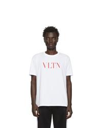 weißes und rotes bedrucktes T-Shirt mit einem Rundhalsausschnitt von Valentino