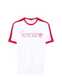 weißes und rotes bedrucktes T-Shirt mit einem Rundhalsausschnitt von Versace