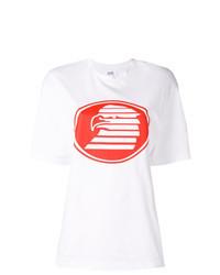 weißes und rotes bedrucktes T-Shirt mit einem Rundhalsausschnitt