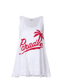weißes und rotes bedrucktes Trägershirt von P.A.R.O.S.H.