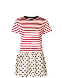 weißes und rotes horizontal gestreiftes Freizeitkleid von RED Valentino