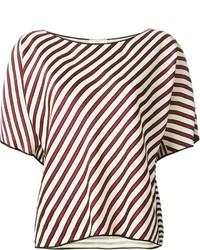 weißes und rotes horizontal gestreiftes kurzes Oberteil von Forte Forte