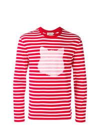 weißes und rotes horizontal gestreiftes Langarmshirt