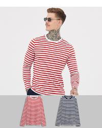 weißes und rotes horizontal gestreiftes Langarmshirt von ASOS DESIGN