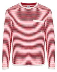 weißes und rotes horizontal gestreiftes Langarmshirt von Eleventy