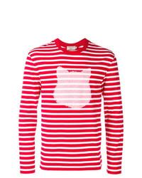 weißes und rotes horizontal gestreiftes Langarmshirt von MAISON KITSUNÉ