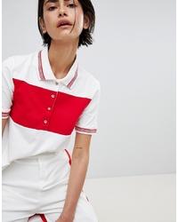 weißes und rotes horizontal gestreiftes Polohemd