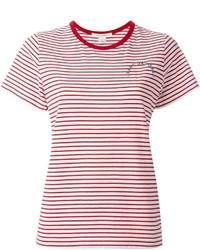 weißes und rotes horizontal gestreiftes T-Shirt mit einem Rundhalsausschnitt von Marc Jacobs
