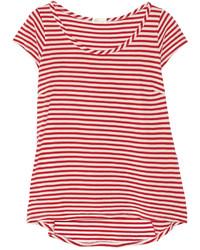 weißes und rotes horizontal gestreiftes T-Shirt mit Rundhalsausschnitt