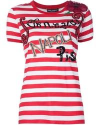 weißes und rotes horizontal gestreiftes T-Shirt mit einem Rundhalsausschnitt von Dolce & Gabbana